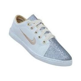 Sapatênis Feminino Nike Branco Com Glitter Prata E Ouro