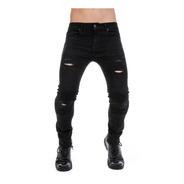 Pantalón Jeans Negro Biker Hombre Skinny Mezclilla Stretch