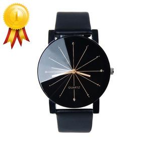 Relógio Feminino Luxo Preto Couro Importado Moderno Barato