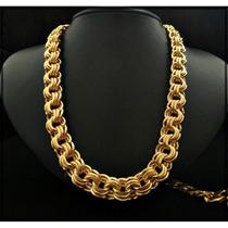 Cordão Tri-frizo 70cm 14mm - Banhado A Ouro - Elos Soldados