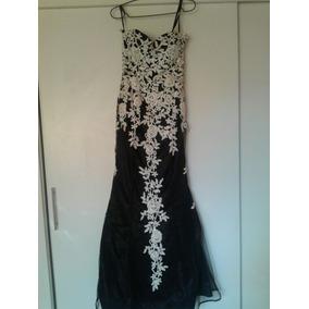 Vestido De Fiesta Negro Y Blanco - Strapless - Impecable