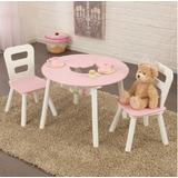Kidkraft Round Table Pink, Mesa Set 2 Sillas Niños Niñas