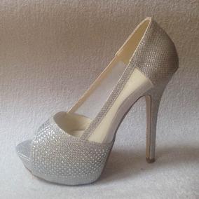 Bello Zapato Peep Toe Color Plata / Brillos Fiesta Numero 38