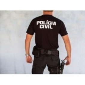 Camiseta Preta Policia Civil Nacional- - Frete Gratis
