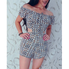 Macaquinho Feminino Modelos Verão Crepe Estampa Moda
