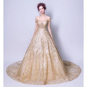 Vestido De Debutante Dourado 34 36 38 40 42 44 46 - Va00368