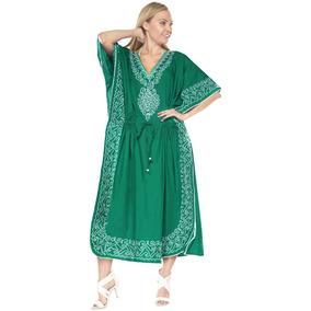 Cubrir Kaftan Playa Vestidos De Kimono Bordado Maxi L-4x