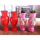 Vaso Decorativo Em Cerâmica- Rosa E Coral