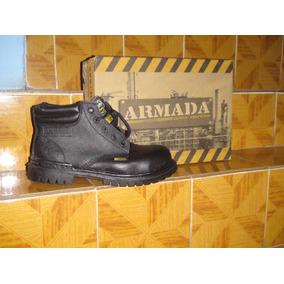 Botas Industriales De Piel Marca Armada Talla 26 Color Negro