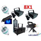Kit Iluminação Festa Luz Negra Strobo Laser Máqna Fumaça 8x1