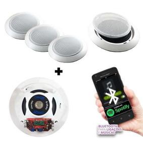 Kit Som Ambiente Bluetooth 1 Caixa Ativa+3passiva De Embutir