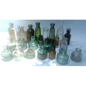 33 Botellas, Tinteros Y Frascos Antiguos.