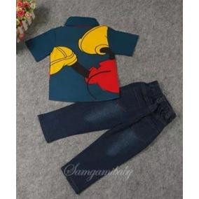 Conjunto Infantil Mickey Polo Jeans Roupa De Frio Crianças