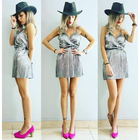 Hermoso Vestido De Seda Plisada Color Plata