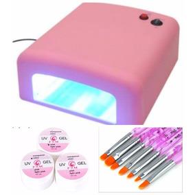 Cabina Uv 36w Pink + Gel 14g + 7 Pinceles Gel Super Oferta