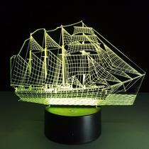 Lámpara Decorativa Con Luz Led, Barco De Velas