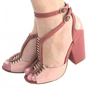Sandália Gladiadora Salto Alto Médio Grosso Rosa Rose 2378