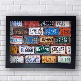 Quadro Decorativo Placas De Carros Com Moldura Preta 30x20cm