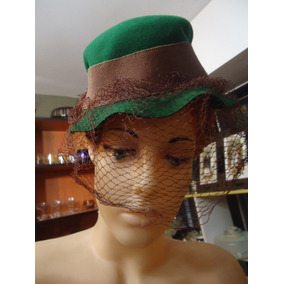 2dd54fd04fa63 Antiguo Sombrero De Dama En Fieltro Con Velo Años 40