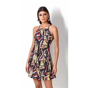Vestido Evasê Morena Rosa Estampa Exclusiva X10000105751