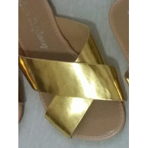 Rasteirinha Prata/dourada/bronze Sandalia Metalizada