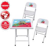 Jogo Conjunto Mesa Crianca Infantil Dobrável Aço 2 Cadeiras