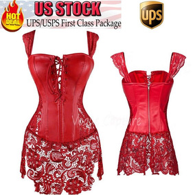 Red Lace Dress - 3xl - Mujeres Sexy Overbust Mini Falda-2273