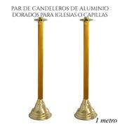 Candelero De Aluminio 100 Cm 2 Piezas Para Iglesia O Capilla