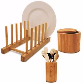 Suporte Porta 6 Pratos Saleiro Escorredor Bambu Cozinha
