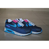 Kp3 Zapatos Nike Air Max 90 Azul Rosa Para Niñas