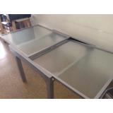 Mesa Aluminio Vidrio Extensible Cuadrada Rectangular