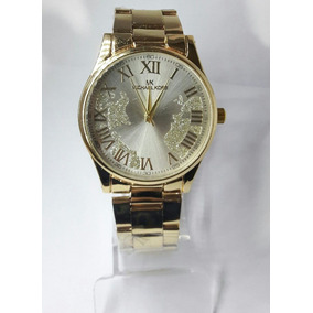Relógio Feminino Michael K Dourado Com Fundo Detalhado