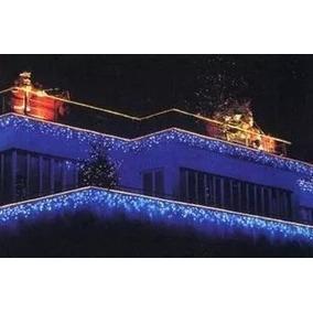 Pisca Cascata Led 100 Lâmpada Fixo Azul Fio Br 110v 2,70m