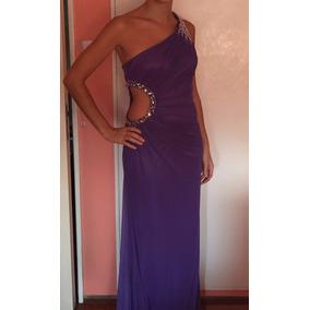 Vestido Noche Violeta Bordado Con Canutillos Perlas Y Piedra
