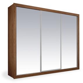 Armário 3 Portas Espelhadas De Correr, Imbuia, Premium Plus