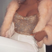 Cropped Luxo De Manta Moda Sexy Com Correntes E Strass Blusa
