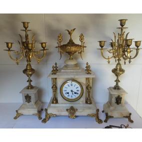 Antigo Francês 1920 Relógio De Cornija E Par De Candelabros