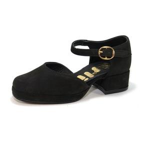 Zapato Vestir Gamuza Taco Hebilla Nena Mujer Childrens