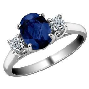 a811bb61a89d Anillo De Oro Blanco 14k Con Zafiro Azul Y Diamantes 1.10 Ct