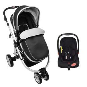 Carrinho 3 Rodas C/ Moisés + Bebê Conforto Preto - Dardara