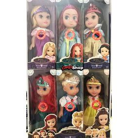 Kit 6 Boneca Princesa Rapunzel Ariel Branca Brave Cinderela