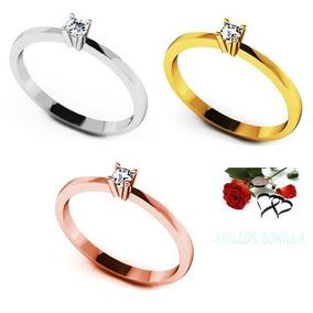 Bello Anillo Compromiso Oro 14k Y Diamante Genuino 2pts