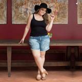 Bermuda Shorts Plus Size Jeans Tamanhos Grandes Cós Alto