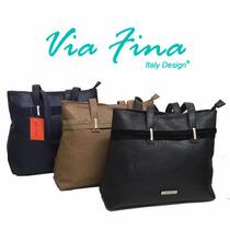 Fine!!! Cartera Vía Fina Cappio Cuero Pu Italian Design!!!