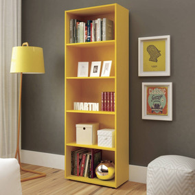 Estante Para Livros 5 Prateleiras Multy Artely Amarelo He