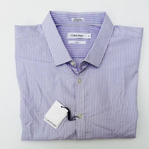 Camisa Calvin Klein Lila De Rayitas Talla Xl 100% Originales