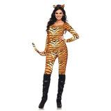 Leg Avenue 2 Catsuit Piece Tigresa Salvaje Con Cola Y Diade