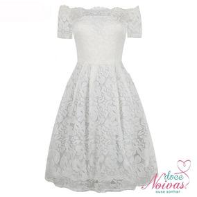 Vestido Noiva Curto Manguinha Rendado