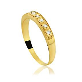 799533a1c28 1767 Meia Aliança De Ouro 18k Com Sete Pedras De Rubi - Joias e ...