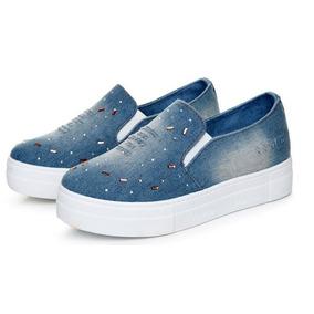 Zapato Zapatilla Jean Plataforma Para Dama